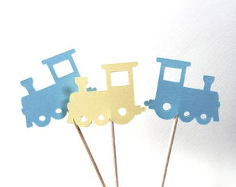 24 Train Cupcake Toppers, Light Blue, Soft Yellow, Baby Showers, Birthdays,  Double-Sided, Travel Theme