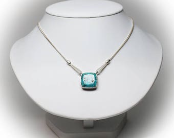 Reversible Sterling Silver Black Onyx or Blue Turquoise Pendant Necklace