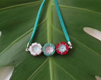 Turquoise, Red & White Flower Necklace
