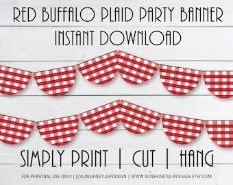 Printable Buffalo Plaid Bunting Banner, Printable Red Buffalo Plaid Banner, Printable Red White Buffalo Check Banner by SUNSHINETULIPDESIGN