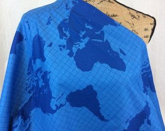 World Map Fabric--Global Fabric--World Map--Map of the World--Our World Map Blue on Blue Fabric Map--Riley Blake Fabric by the HALF YARD