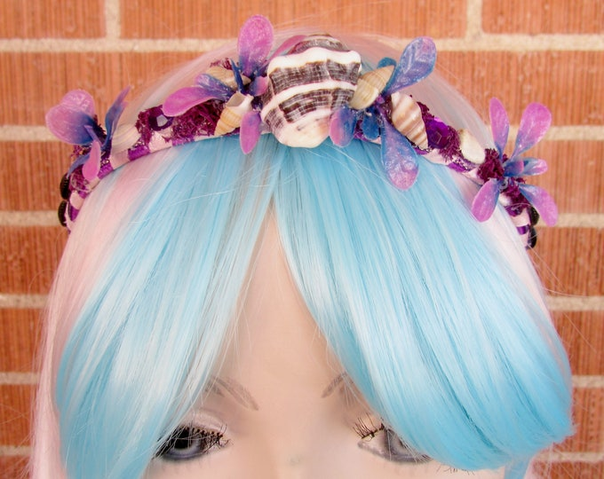 Mermaid Crown, Sea Shell Crown, Mermaid Headband, Flower Crown, Shell Crown, Mermaid Costume, Cosplay, Mermaid Tiara, Seashell Tiara