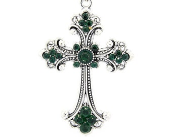 Cross Pendant - Dark (Emerald) Green Rhinestones - #PND122