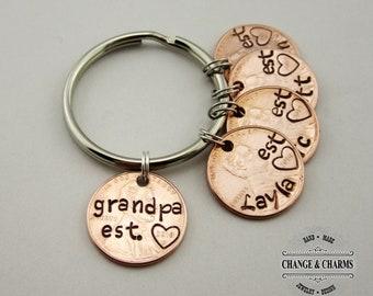 Grandpa Est. Penny Keychain, Grandchildren, Grandpa Keychain, Penny Keychain, Custom Gift, Personalized, Grandpa Gift, Grandpa Penny, Gift