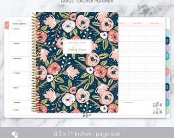 teacher planner 8.5x11 | 2018-2019 lesson plan | weekly teacher planner | personalized teacher planbook | navy pink gold floral