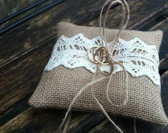 Burlap Rustic Ring Pillow with Cream or White cotton Lace small 5x5 inches