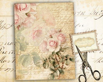 Large transfer images Printable images Digital sheet Jewelry holders Digital backgrounds for paper craft - PINK SHABBY ROSE