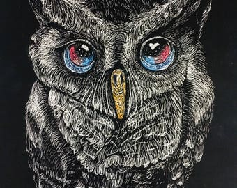 Scratchboard Owl with Galaxy-like Eyes