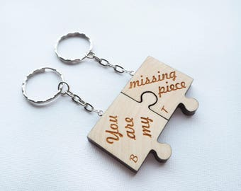Personalized Keychain, Couple Keychain Set, Personalized Couple Keychain, Puzzle Piece Keychain, His And Her Keychain, Personalized Gift