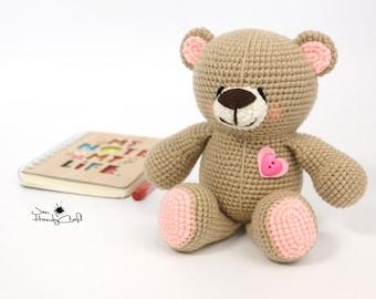 Teddy bear Stuffed bear toy Girlfriend gift for her Plush Bear lover gift Heart Stuffed animal toy Woodland toy Soft bear Baby shower gift