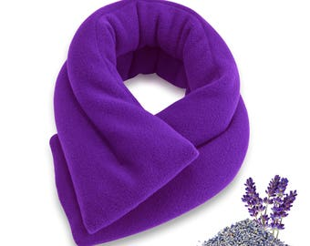 Lavender Purple Microwave Heat Neck Wrap, 26x5, Extra Long, Heating Pad, Shoulder Back Hot Cold, Moist Aromatherapy Bean Bag Herbal Pack