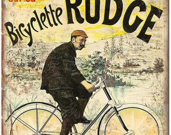 "Rudge Bicycle Charles Terront Vintage Ad 10"" x 7"" Reproduction Metal Sign B237"