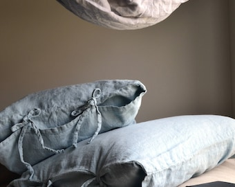 Duck Egg Blue Rustic Rough Heavy Weight Linen Pillow case. Standard, Euro and King sizes