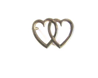 Double Open Heart Piece Sterling Silver Entwined Hearts Vintage Valentines Day Supply