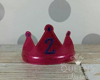 2nd Birthday Party Tiara  - Costume Accessory - Bright Pink Glitter Princess Dress-up Headband Tiara Photo Prop