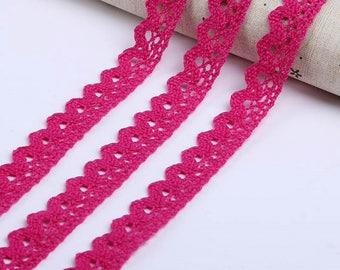Lace, cotton color fuchsia pink, 1.5 cm sold per meter, 100% cotton fuchsia pink lace Ribbon lace