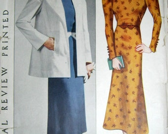 Vintage 30s DRESS and JACKET Pattern UNCUT Pictorial Review  8729 Bust 32