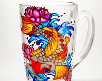 Japanese Koi Mug, Koi Carp Gift Personalized, Husband Gift, Dad Mug, Koi painted mug