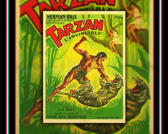 TARZAN And The GREEN GODDESS On Linen (1931) Very Rare 24x32 Rolled French Moyenne Movie Poster Original Vintage Collectible