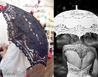 Special Offer Black Battenburg Lace Vintage Umbrella Parasol For Bridal Bridesmaid Wedding