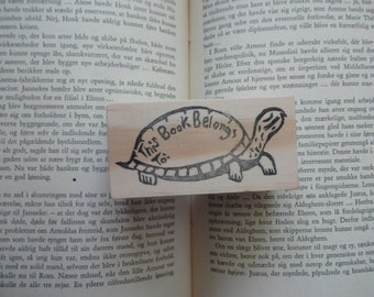 This Book Belongs To...Turtle Hand Carved Rubber Stamp: Book Stamp, Book Plate, Teacher Gift, Back to School, Baby Shower, Tortoise, Folk