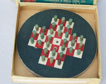 Antique Game Puzzle - Peg . Original Box . Lubbers & Bell Company . Made In USA . Educational Game