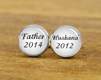 father cufflinks, husband cufflinks, custom anniversary cufflinks, Baby Announcement cufflink, groom cufflinks, tie clip or a matching set