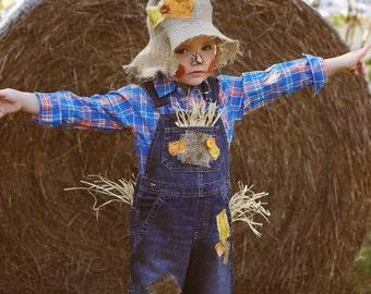 Custom Scarecrow Costume w/ Custom Hat (sizes 6m to 5t)