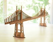 "St Johns Bridge Wood Model Kit, Portland Oregon 26"" Long x 7.5"" Tall, Large Wood Model Kit, Assembly Required"