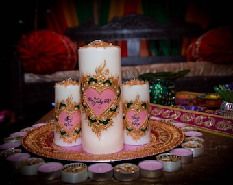 Henna mehndi personalised candles