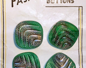 SALE 4 xVintage glass buttons/green and silver glass buttons/1950s buttons on original card/retro buttons/jacket buttons/1960 buttons