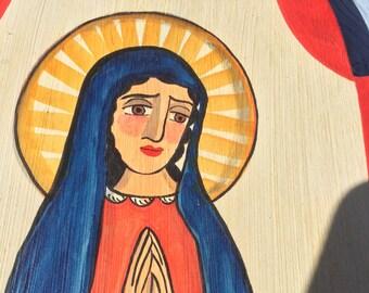 Gorgeous Santos ~ Arched Wood Panel Painting - Marie Romero Cash - Santa Fe - 2004