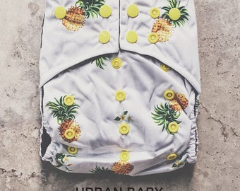 Cloth Diapers, Cloth Diaper Pattern, One Size, All in one, Modern, Bamboo, Nappies, Baby Diaper, Diaper Cover, Pineapple, Yellow, Summer