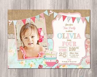 Tea Party Birthday Invitation, Tea Party Photo Invitation, Shabby Chic Birthday Invitation, Tea Party Invitation, Printable Invitation