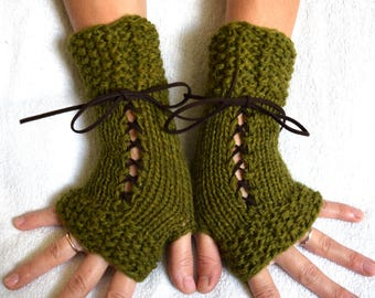 Hand Knit Fingerless Corset Gloves Wrist Warmers Green Women Accessory Victorian Style
