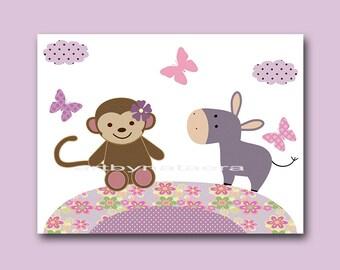 INSTANT DOWNLOAD Monkey Nursery Print Printable Art Nursery Digital Download Children Art Baby Girl Nursery Digital Download Art 8x10 11X14