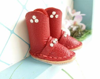 Blythe Doll Mini Burgundy Red Leather Boots Azone Pure Neemo M Size Body Hand Made By MizuSGarden