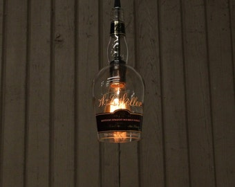 W.L. Weller Bottle Pendant Light - Upcycled Industrial Glass Ceiling Light - Handmade Bourbon Bottle Light Fixture, Father's Day Gift