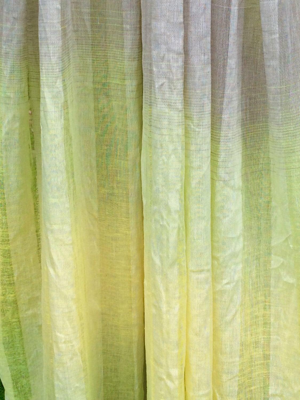 rideau lin panneau naturel gris jaune d grad de vert ray. Black Bedroom Furniture Sets. Home Design Ideas