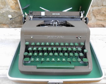 Vintage Royal Typewriter Quiet De Luxe Deluxe Working Condition Green Keys Carrying Case Manual Portable Retro Midcentury Photo Prop
