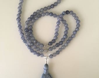 Pastel Blue Mala // 108 Prayer Beads // Meditation // 108 Beads // Tassel Mala