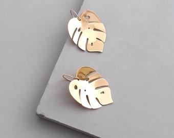 Big Earrings - Monstera Earrings - Gold Leaf Earrings - Statement Earrings - Gold Earrings Dangle- Tropical  Earrings - Palm Leaf Earrings
