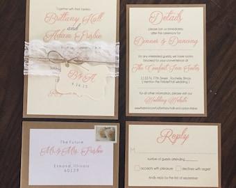 CUSTOM Rustic Wedding Invitation Suite