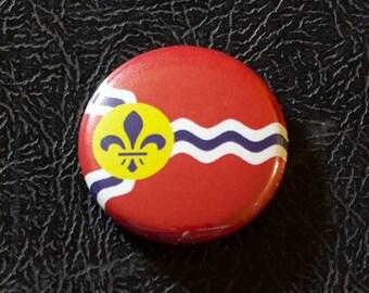 "1"" St. Louis MO flag button - Missouri, city, pin, badge, pinback"