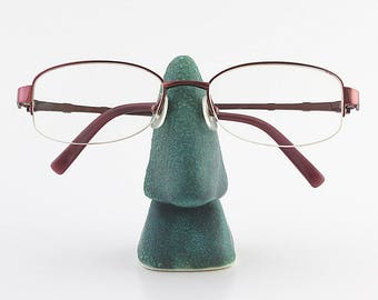 FREE SHIPPING Turquoise ceramic glasses stand, Nose eyeglasses holder, sunglasses holder, home & office eyewear display (No. N-gla-35)
