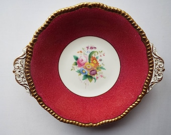 Coalport Cake Plate Or Serving Bowl. Pink And Gold Vintage Cake Plate, Serving Platter Or Serving Dish With Beautiful Pink Roses And Flowers