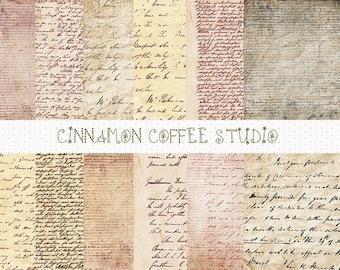 Antique Letters Digital Papers, Retro Handwriting Papers, Vintage Letters Digital Papers - set of 14