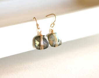 Labradorite dangle earrings, grey seagreen blue, square geometric drops, dainty jewelry gift for mom, friend sister VitrineDesigns Under 75