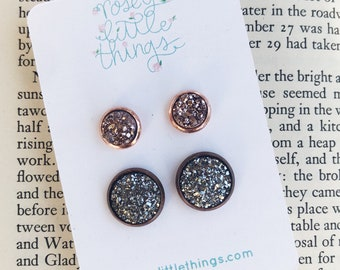 Grey Black and Rose Gold Druzy Set of Two Post Earrings, Metallic Sparkle Studs, Gunmetal Silver and Light Copper Earrings