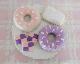 Cheshire Cat Pink & Purple Tea Party Set, Felt Donuts, Pop Tart, and Cookies